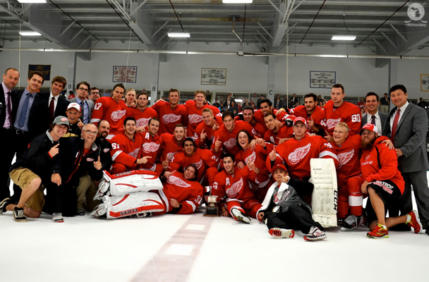 The Red Wings' prospects won the tournament the Original Six club hosts in Traverse City with a 4-2 win over Buffalo Monday night. (Amanda O'Toole/MiHockey)