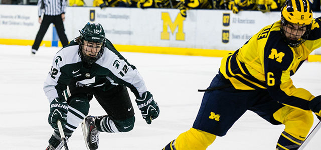 By Alyssa Girardi - ANN ARBOR — For the second time in his 57 games as a Spartan, Jake Hildebrand was pulled from net and replaced by...