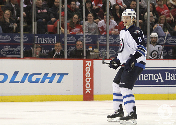 Jacob Trouba's first game at Joe Louis Arena as a professional hockey player. (Photo by Kaileigh Brammer/MiHockey)
