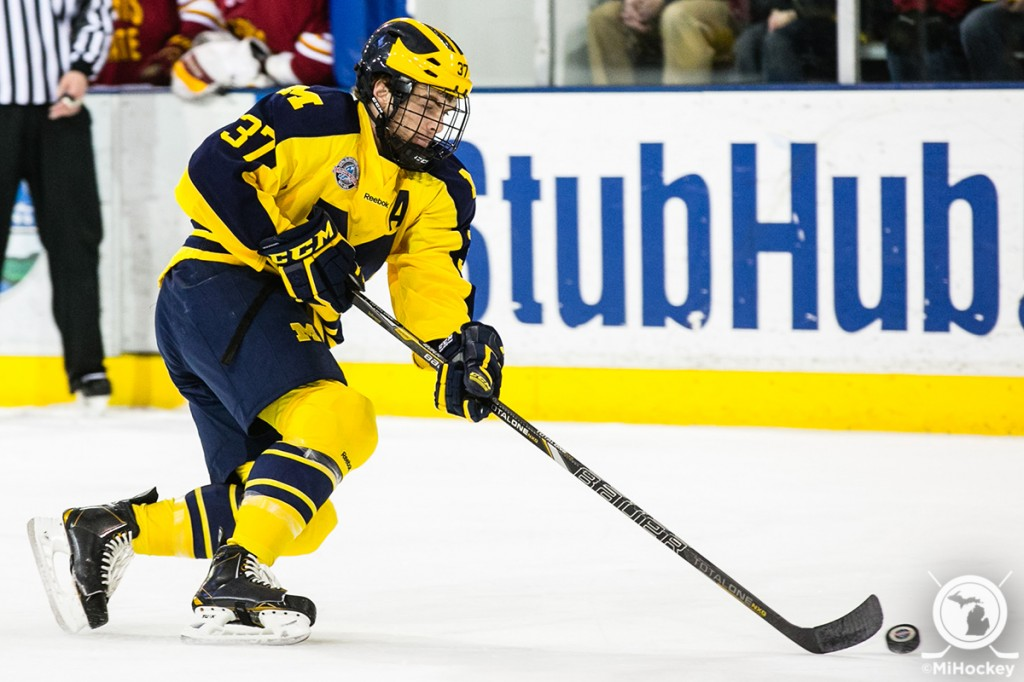 Mac Bennett during his Michigan Hockey career. (Photo by Andrew Knapik/MiHockey)