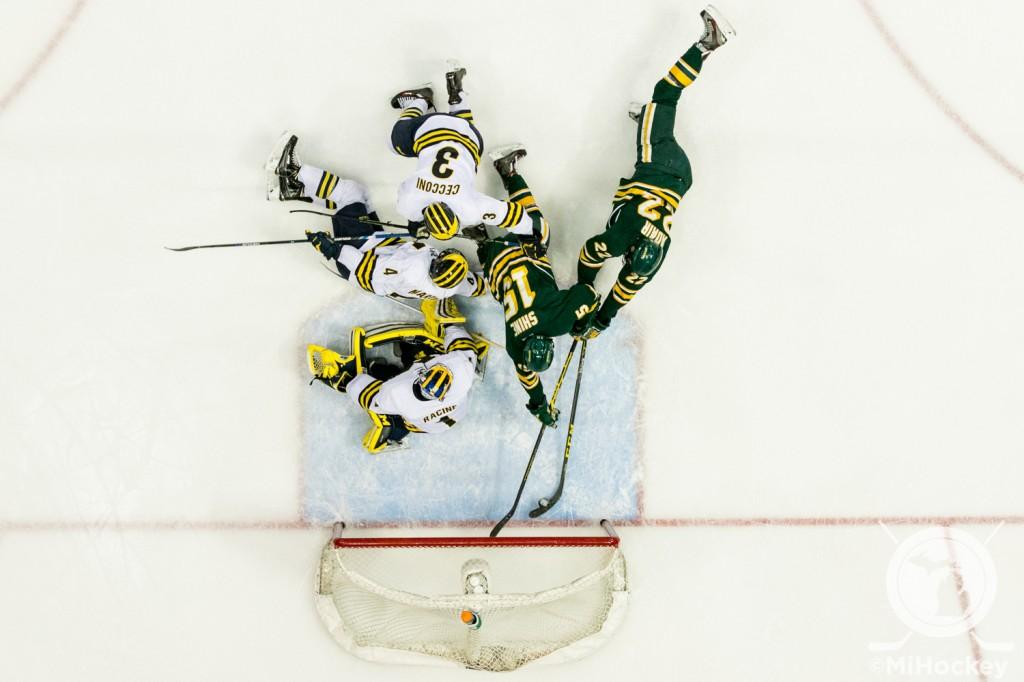 Dominik Shine's goal against Michigan on Dec. 29. (Photo by Andrew Knapik/MiHockey)