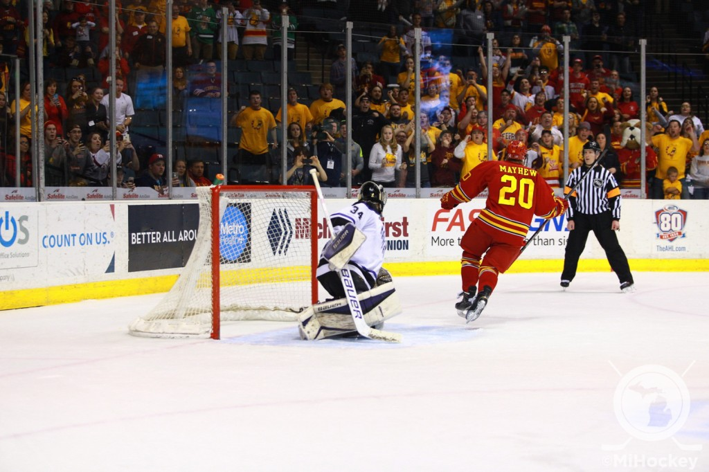Gerald Mayhew scores on a penalty shot to give Ferris State a 2-1 lead. (Photo by Michael Miller/MiHockey)