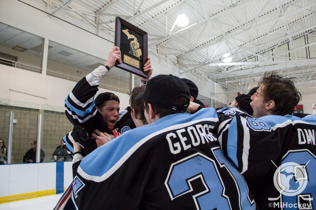 The Victory Honda Midget Minor team celebrates their 2016 state title. (Photo by Michael Caples/MiHockey)