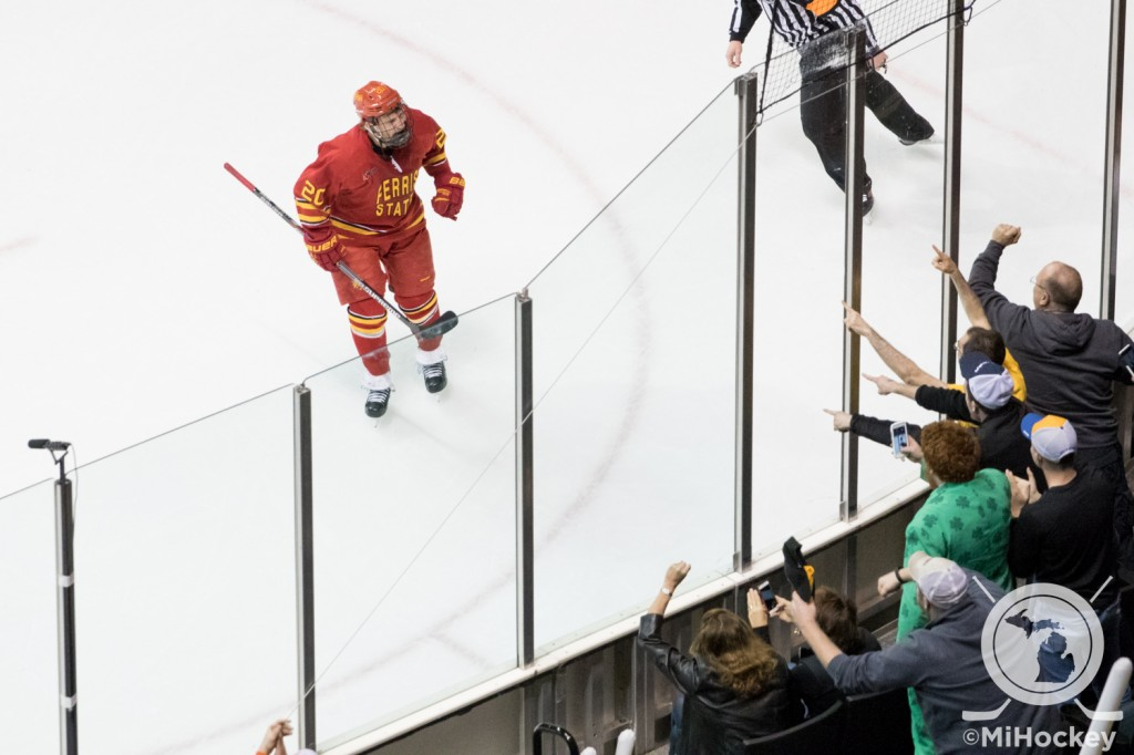 Gerald Mayhew celebrating a goal in the WCHA Final Five title game game last year in Grand Rapids. (Photo by Michael Caples/MiHockey)