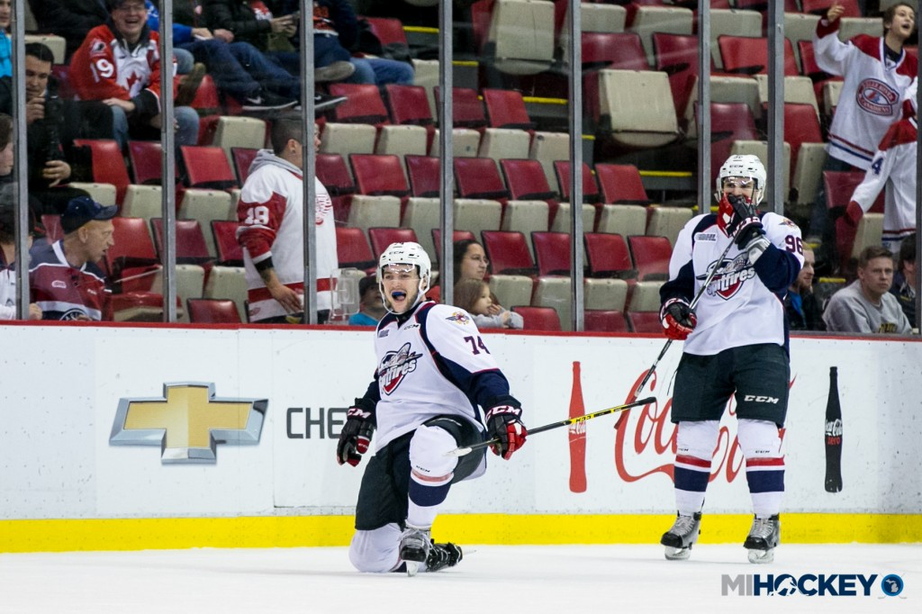 "Sean Day celebrates his game-winning goal in the Windsor Spitfires' ""Farewell To The Joe"" OHL game against the Saginaw Spirit. (Photo by Andrew Knapik/MiHockey)"