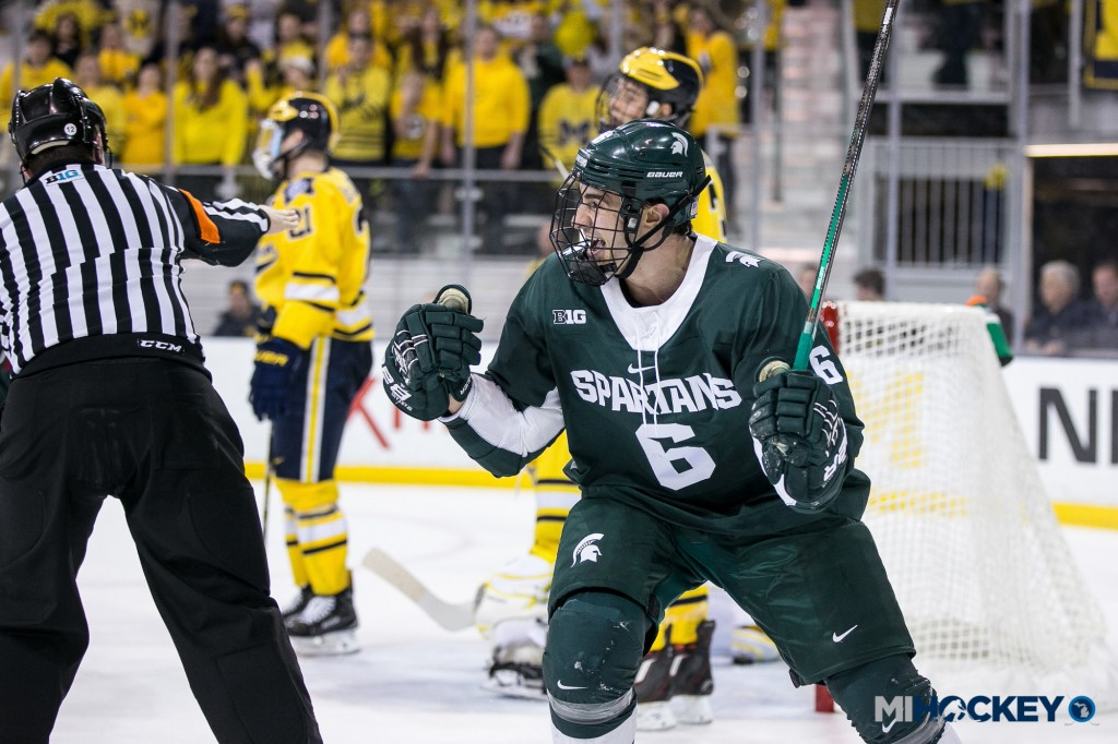 Chris Knudson scored his first career NCAA goal against the Spartans' main rival. (Photo Andrew Knapik/MiHockey)