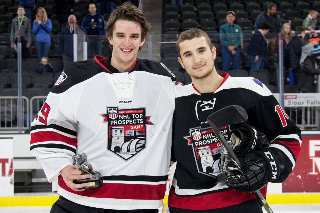 Washe with Team West MVP and Muskegon Lumberjacks goaltender Keith  (Photo courtesy)