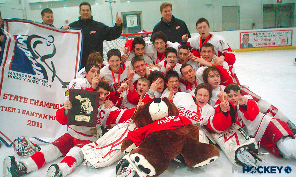 Zach Werenski and Dylan Larkin won a Bantam Major state title together in 2011. (Photo from the MiHockey archives)