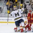 In a Thursday night in-state showdown, the Michigan Wolverines prevailed over former CCHA rival Ferris State 7-2 at Yost Ice Arena in Ann Arbor. (Photos by Michael Caples/MiHockey)